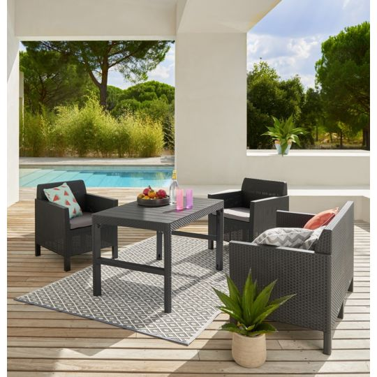 Salon bas de jardin Chicago - 4 places - Graphite pas cher au ...