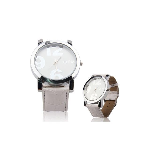 fournir un grand choix de vraie affaire une autre chance Montre blanc pour fille garçon Montre-bracelet à quartz unisexe de style  numérique avec bracelet en cuir