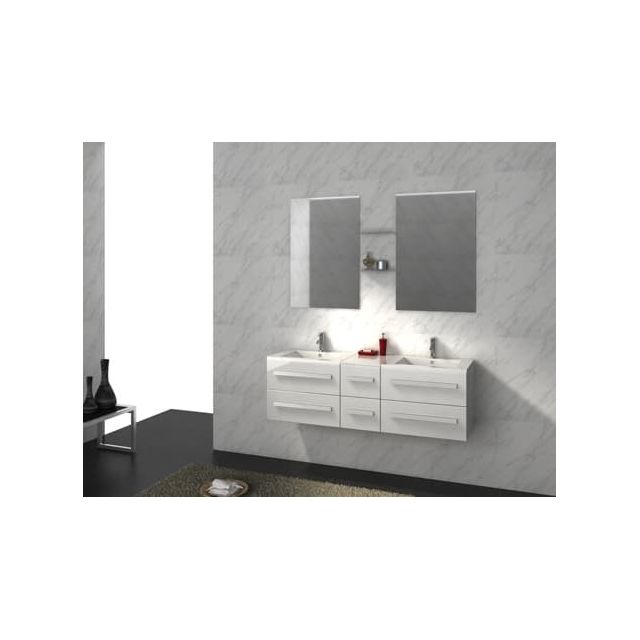 Items France - Riviera2 Blanc - Meuble salle de bain double vasques ...