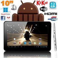 Yonis - Tablette tactile 10 pouces Android 4.4 KitKat Quad Core 12 Go Blanc