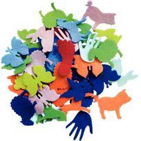 - animaux et objets en feutrine adhésive - sachet de 150 formes