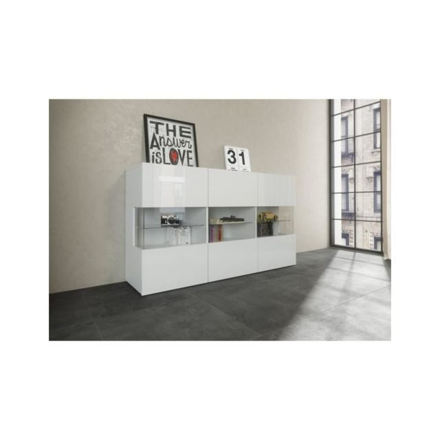 Usines Discount - New Kiss Buffet 150cm laqué blanc - pas cher Achat ...
