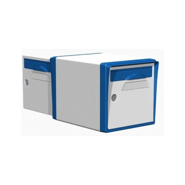 creastuce boite aux lettres 2 portes blanche bleue 10 df pas cher achat vente bo te aux. Black Bedroom Furniture Sets. Home Design Ideas