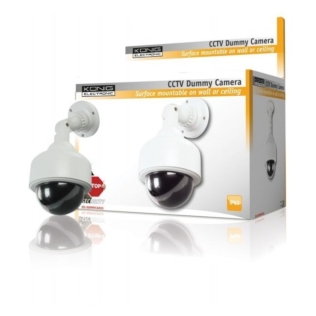 Konig König mini caméra speed dôme factice • Hauteur: 26.5 cm• Diamètre: 12.8 cm• Batteries: 2x 1.5 V Aa (non incluses)• Boîtier: Plastique• Protection Ip: Ip65