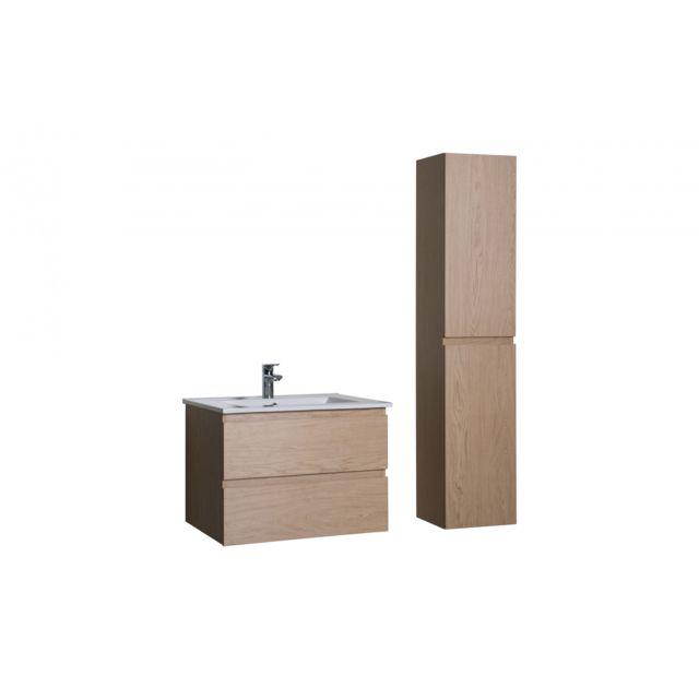 Mob in ensemble salle de bain 60 cm meuble sous vasque - Meuble bas salle de bain sans vasque ...