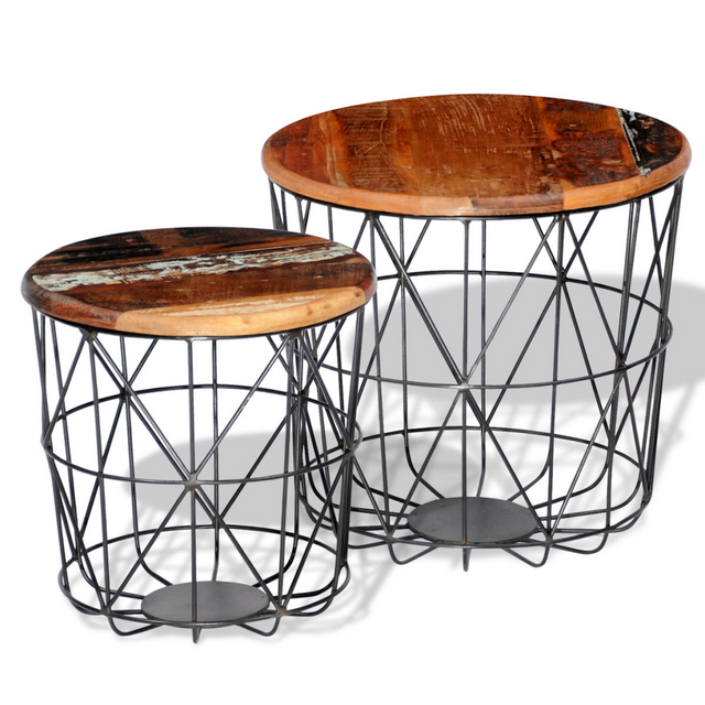 Vidaxl 2 Tables basses rondes en bois recyclées 35 cm/45 cm