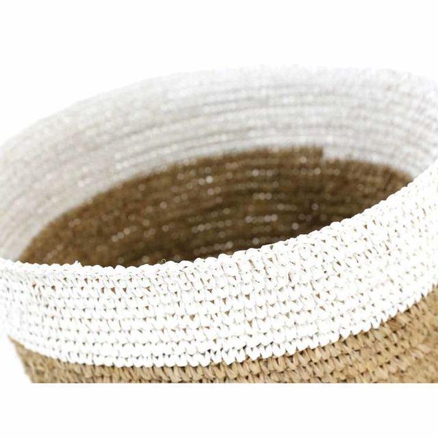 Zago - Panier de rangement en jacinthe tressée bicolore blanc et naturel - Set de 2 Ray Marron