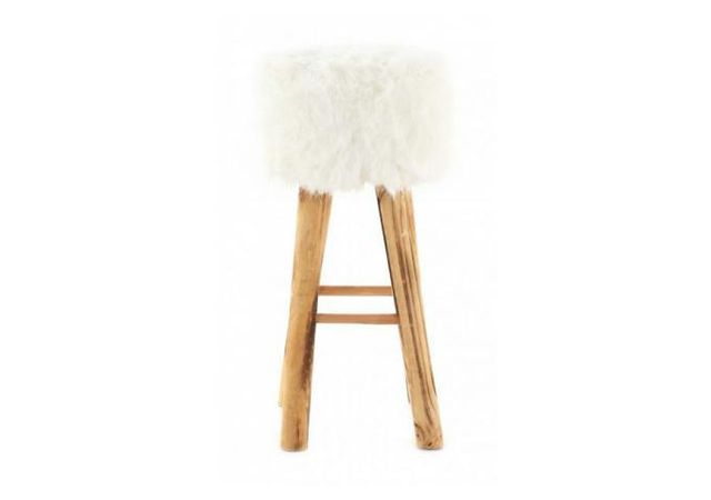 declikdeco tabouret imitation fourrure et pin massif blanc yeti beige blanc pas cher achat. Black Bedroom Furniture Sets. Home Design Ideas