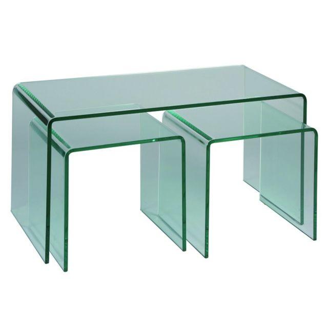 Tousmesmeubles Tables de salon avec 2 gigognes - Clean