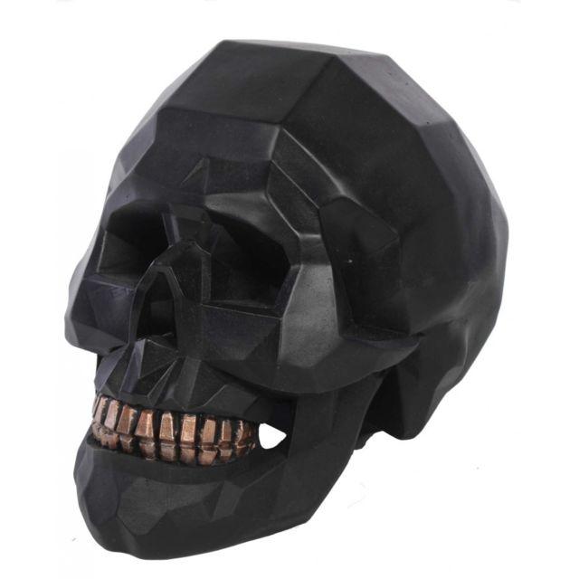 Statue grande tête de mort origami noire - en résine - 19 cm