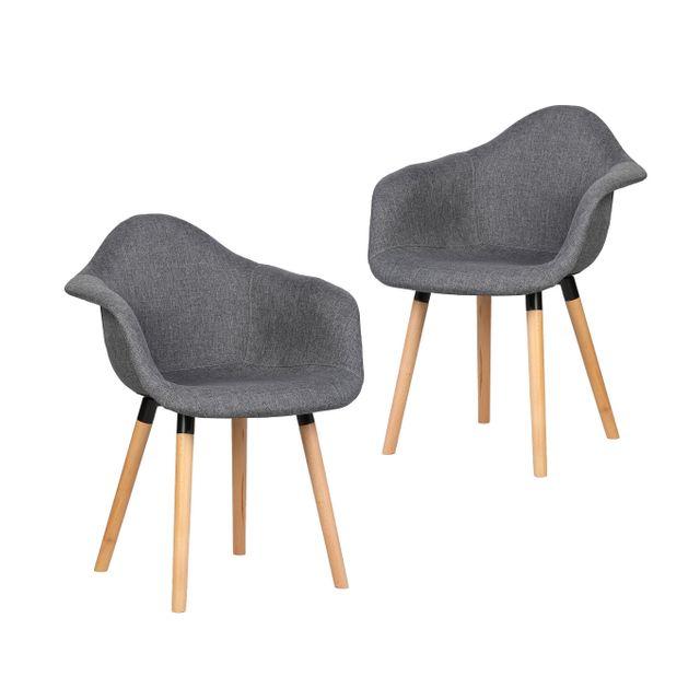 scandinave Gris Bobochic Visby de 2 chaises design Lot qSzMVpU