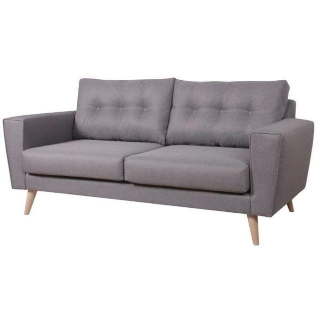 CANAPE - SOFA - DIVAN BRANDO Canapé droit fixe 3 places - Tissu gris - Scandinave - L 184 x P 90 cm