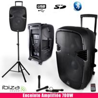 Ibiza Sound - Enceinte active 700W, 4MIC Public Adress, + Pied