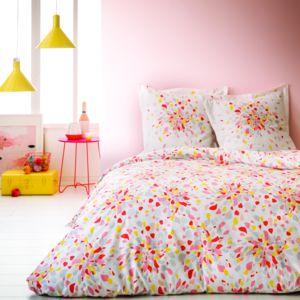 tex home parure fleur eclat housse de couette 1 taie d 39 oreiller corail pas cher achat. Black Bedroom Furniture Sets. Home Design Ideas