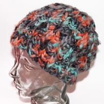 Celtek - Bonnet long grosses mailles black turquoise orange