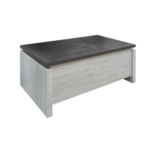 Tousmesmeubles Table basse relevable Chêne gris/Ardoise - Himeji