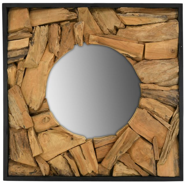 AUBRY GASPARD Miroir carré en teck recyclé naturel