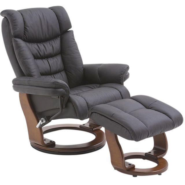 design intemporel 4b468 7ff17 Fauteuil relax avec pouf noir contemporain en cuir véritable avec pietement  en bois marron C-abbey