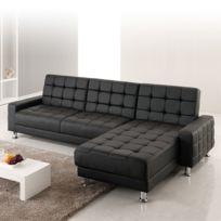 Design et Prix - Magnifique canape calypso : canapé d'angle 3 places convertible lit noir