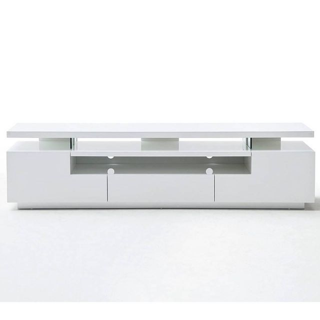 inside 75 meuble tv design elios 3 tiroirs laqu blanc mat clairage led int gr pas cher. Black Bedroom Furniture Sets. Home Design Ideas