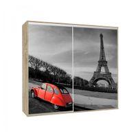 Générique - Armoire 2 portes coulissantes Loppee largeur 155 cm décor Paris