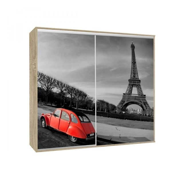 Générique - Armoire 2 portes coulissantes Loppee largeur 155 cm décor Paris Chene sonoma