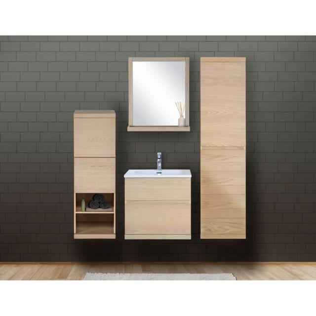 Ensemble salle de bain chêne 60 cm meuble + vasque + miroir + 2 colonnes  Enio