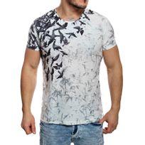 Redbridge - T-shirt manches courtes blanc dégradé aspect effilé