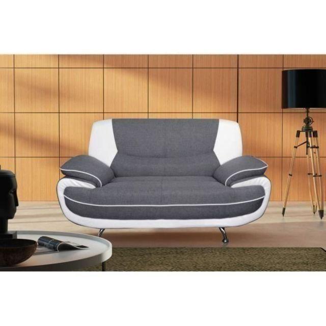 Icaverne Canape - Sofa - Divan Spacio Canapé droit fixe 2 places - Tissu gris et simili blanc - Contemporain - L 162 x P 86 cm