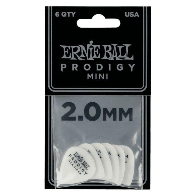 2.00mm Ernie Ball 9203 Sachet de 6 médiators minis Prodigy blanc