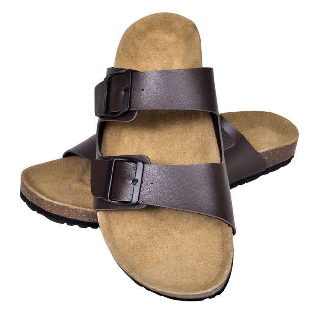 1e9f1d527a6d Vidaxl - Sandales unisexes marron en liège bio avec 2 brides à boucle taille  41 - pas cher Achat   Vente Entretien des chaussures - RueDuCommerce