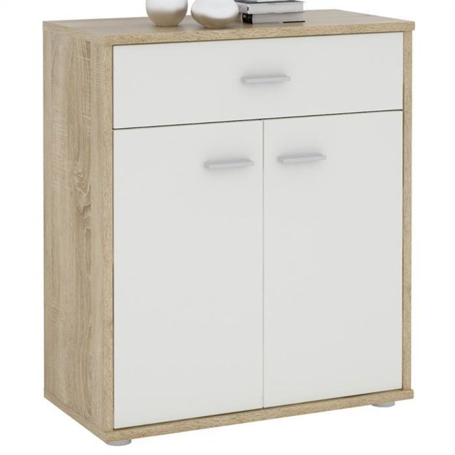 idimex buffet monaco commode tiroir rangement m lamin d cor ch ne sonoma et blanc mat pas. Black Bedroom Furniture Sets. Home Design Ideas