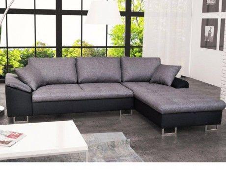 MARQUE GENERIQUE Canapé d'angle en tissu ALLEGRI II - Bicolore noir/gris - Angle droit