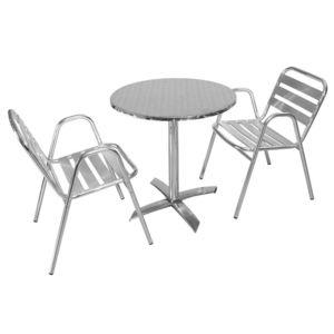 MobEventPro - Salon Table de jardin ronde 2 personnes en alu type ...