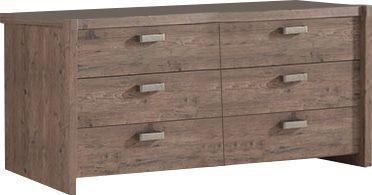 Comforium Commode double à 6 tiroirs 170x70 cm coloris pin écossais