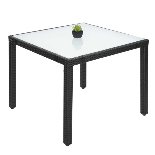 Mendler Table en polyrotin Hwc-f49, table de jardin, salle à manger, 90x90cm ~ anthracite