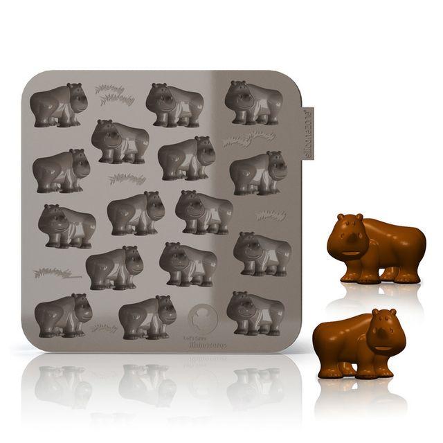 Silicone Zone Moule à chocolat en silicone 16 empreintes My Animals - Rhinocéros