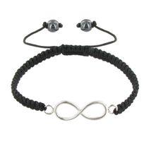 Les Poulettes Bijoux - Bracelet Argent Infini Lien Tréssé Noir