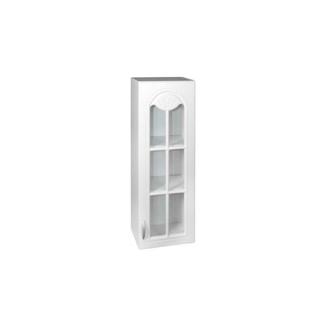 Meublesline Meuble de cuisine haut colonne 40 cm 1 porte vitrée Dina