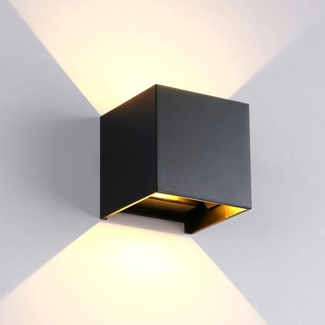 Applique murale Led à Cob en aluminium noir, lumière blanche, 6W,  intérieure & extérieure en forme de cube pour salon, chambre à coucher,  allée, ...