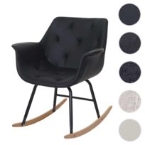 Mendler - Fauteuil à bascule Malmö T820, rocking-chair, fauteuil basculant, relax ~ similicuir, noir