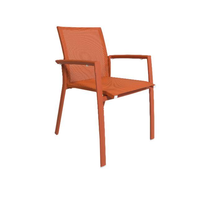 Gecko Jardin Lot de 2 chaises en aluminium et textilène orange Sydney
