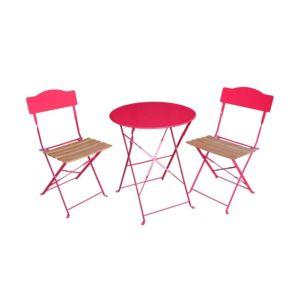 jja ensemble bistro pliant helena framboise rose 2 places pas cher achat vente ensembles. Black Bedroom Furniture Sets. Home Design Ideas