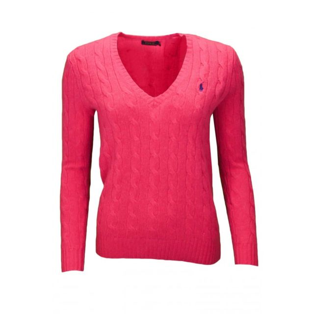 adf51034deb6 Ralph Lauren - Pull col V Kimberly rose pour femme - pas cher Achat   Vente  Pulls femme - RueDuCommerce