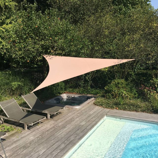 Alice'S Garden Voile d'ombrage triangulaire extensible Easywind 3,6 x 3,6 x 3,6m - Taupe - Anti Uv Upf 50