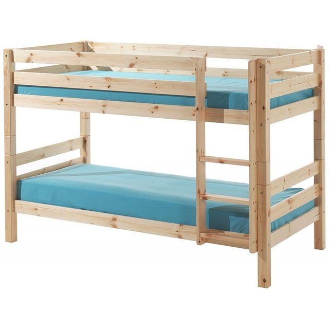 vipack pino lit superpos pin massif nature 209 x 105 x 140 cm bleu 90cm x 200cm pas cher. Black Bedroom Furniture Sets. Home Design Ideas