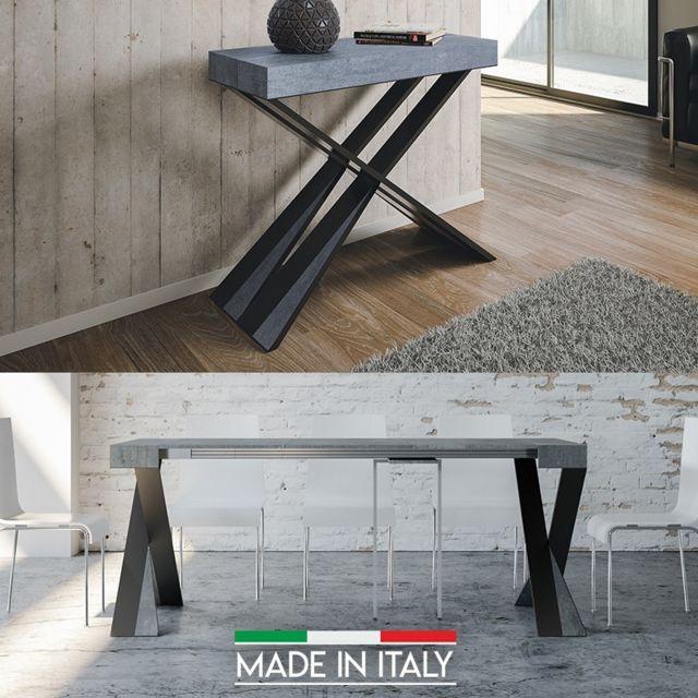 Meubler Design Table Console extensible Diago - Bois béton, Nombre d'extensions - 3 Rallonges