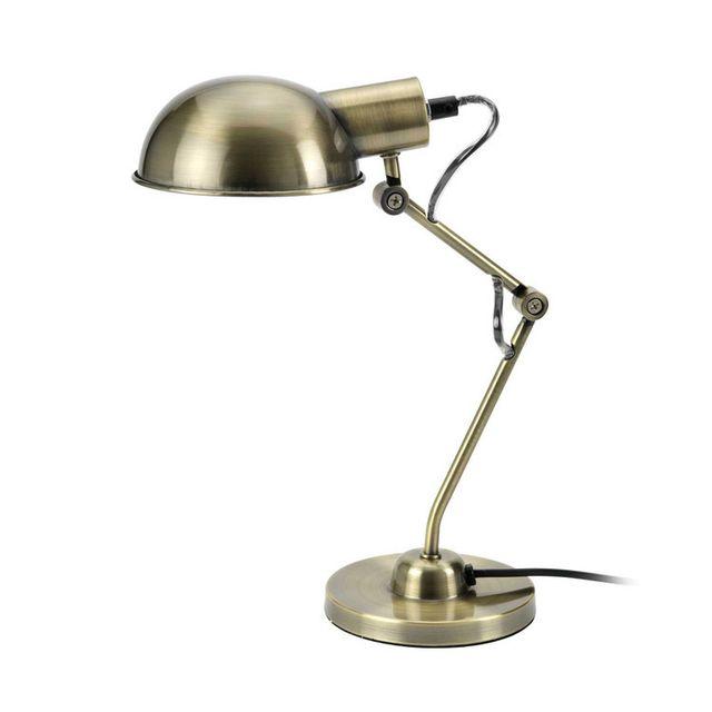 Mathias - Lampe de bureau en métal articulé et orientable hauteur 40cm diamètre 14cm Tea - Laiton 0cm x 0cm x 0cm