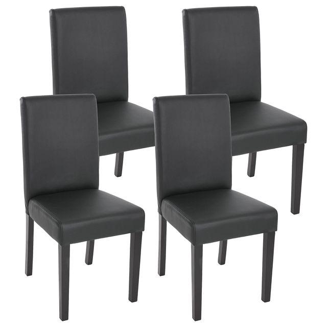 Lot de 4 chaises de séjour Littau, simili cuir, noir mat, pieds foncés