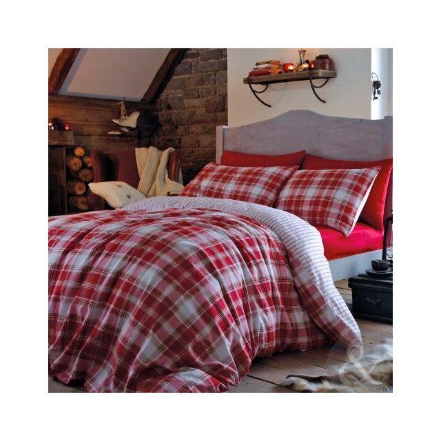 catherine lansfield parure de lit 100 flanelle de coton motif carreaux rouge blanc m lange. Black Bedroom Furniture Sets. Home Design Ideas